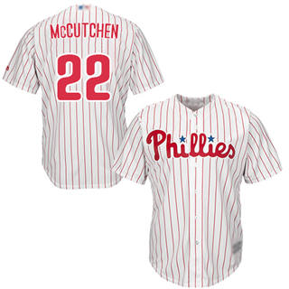 Youth Phillies #22 Andrew McCutchen White(Red Strip) Cool Base Stitched Baseball Jersey