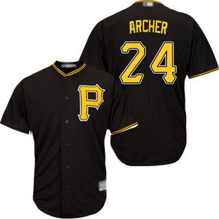 Youth Pirates #24 Chris Archer Black Cool Base Stitched Baseball Jersey