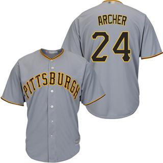 Youth Pirates #24 Chris Archer Grey Cool Base Stitched Baseball Jersey