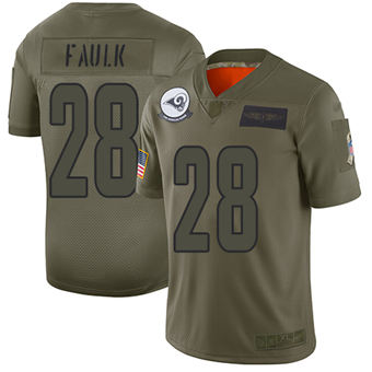 Youth Rams #28 Marshall Faulk Camo Stitched Football Limited 2019 Salute To Service Jersey