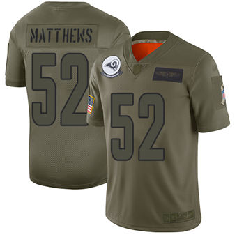 Youth Rams #52 Clay Matthews Camo Stitched Football Limited 2019 Salute To Service Jersey