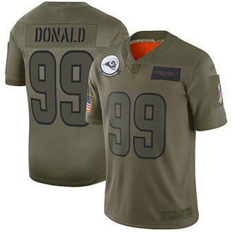 Youth Rams #99 Aaron Donald Camo Stitched Football Limited 2019 Salute To Service Jersey