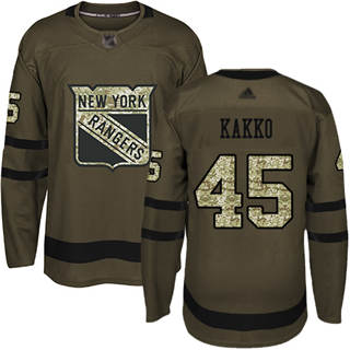 Youth Rangers #45 Kaapo Kakko Green Salute to Service Stitched Hockey Jersey