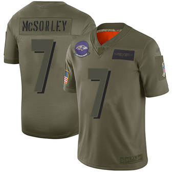 Youth Ravens #7 Trace McSorley Camo Stitched Football Limited 2019 Salute To Service Jersey