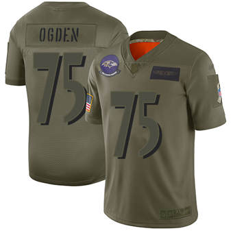 Youth Ravens #75 Jonathan Ogden Camo Stitched Football Limited 2019 Salute To Service Jersey