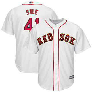 Youth Red Sox #41 Chris Sale White 2019 Gold Program Cool Base Stitched Baseball Jersey