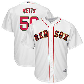 Youth Red Sox #50 Mookie Betts White 2019 Gold Program Cool Base Stitched Baseball Jersey