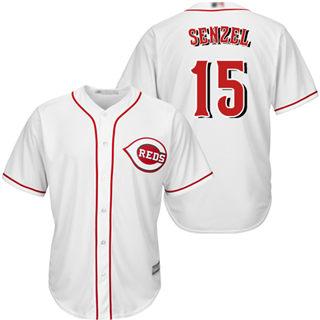 Youth Reds #15 Nick Senzel White Cool Base Stitched Baseball Jersey