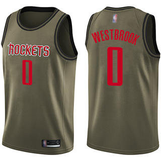 Youth Rockets #0 Russell Westbrook Green Salute to Service Basketball Swingman Jersey