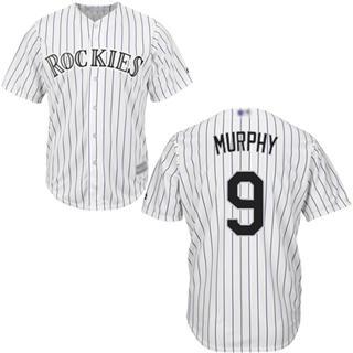 Youth Rockies #9 Daniel Murphy White Strip New Cool Base Stitched Baseball Jersey