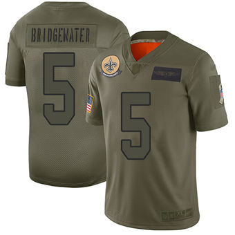 Youth Saints #5 Teddy Bridgewater Camo Stitched Football Limited 2019 Salute To Service Jersey