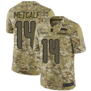 Youth Seahawks #14 D.K. Metcalf Camo Stitched Football Limited 2018 Salute to Service Jersey