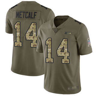 Youth Seahawks #14 D.K. Metcalf Olive Camo Stitched Football Limited 2017 Salute to Service Jersey