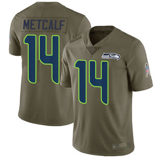 Youth Seahawks #14 D.K. Metcalf Olive Stitched Football Limited 2017 Salute to Service Jersey