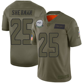 Youth Seahawks #25 Richard Sherman Camo Stitched Football Limited 2019 Salute To Service Jersey