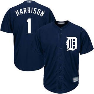 Youth Tigers #1 Josh Harrison Navy Blue New Cool Base Stitched Baseball Jersey