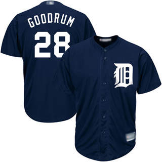 Youth Tigers #28 Niko Goodrum Navy Blue New Cool Base Stitched Baseball Jersey