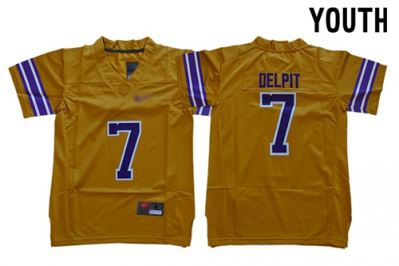 Youth Tigers #7 Grant Delpit Gridiron Gold Limited Legend Stitched College Jersey