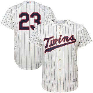 Youth Twins #23 Nelson Cruz Cream Strip Cool Base Stitched Baseball Jersey