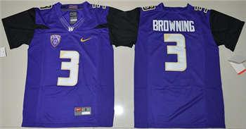 Youth Washington Huskies #3 Jake Browning Purple Limited Stitched NCAA Jersey