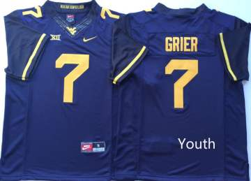 Youth West Virginia Mountaineers #7 Will Grier Blue  NCAA College Football Jersey