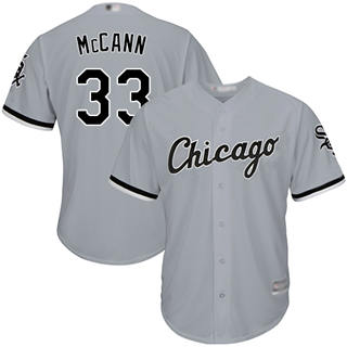 Youth White Sox #33 James McCann Grey Road Cool Base Stitched Baseball Jersey