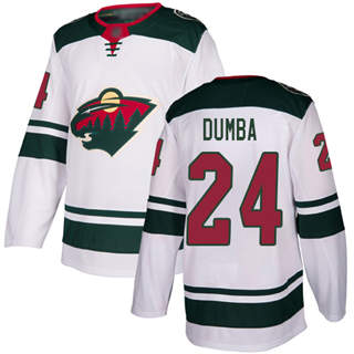 Youth Wild #24 Matt Dumba White Road Authentic Stitched Hockey Jersey