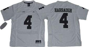 Youth Wolverines #4 Jim Harbaugh Gridiron Gray II Jordan Brand Stitched NCAA Jersey