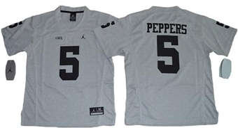 Youth Wolverines #5 Jabrill Peppers Gridiron Gray II Jordan Brand Stitched NCAA Jersey
