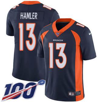 Men's Broncos #13 KJ Hamler Navy Blue Alternate Stitched Football 100th Season Vapor Untouchable Limited Jersey