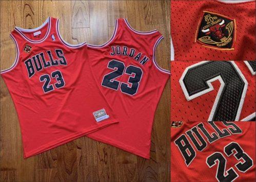 Men's Bulls #23 Michael Jordan Red Stitched 1993 Champions 2013 20th Anniversary Hardwood Classics Jersey