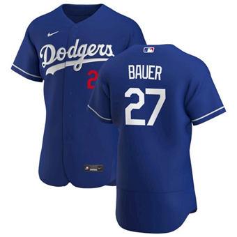 Men's Dodgers #27 Trevor Bauer Royal Alternate Flex Base Stitched 2021 Baseball Jersey