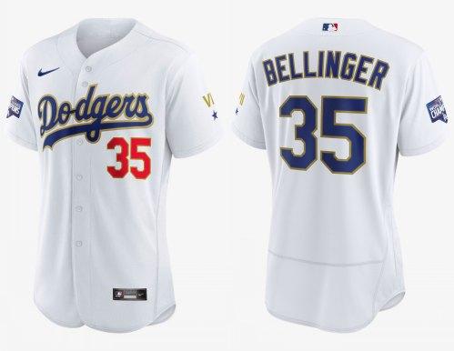 Men's Dodgers #35 Cody Bellinger White Gold 2021 Gold Program Authentic Baseball Jersey