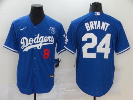 Men's Dodgers #8-24 Kobe Bryant 2020 Royal Cool Base Baseball Jersey - With KB Patch
