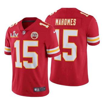 Men's Kansas City Chiefs #15 Patrick Mahomes Red 2021 Super Bowl LV Stitched Football Jersey