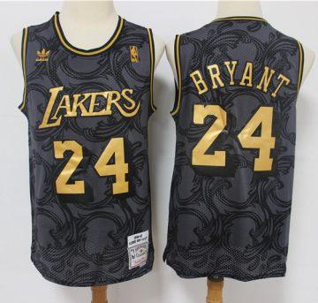 Men's Lakers #24 Kobe Bryant Black Gold Hardwood Classics Basketball Jersey