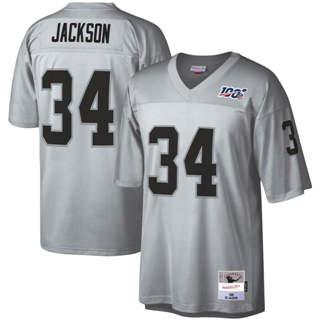 Men's Las Vegas Raiders #34 Bo Jackson Mitchell & Ness Football 100th Season Retired Player Platinum Jersey