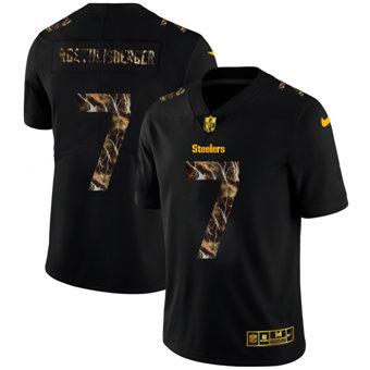 Men's Pittsburgh Steelers #7 Ben Roethlisberger Black Flocked Lightning Vapor Limited Football Jersey