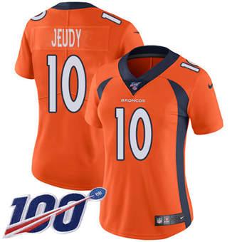 Women's Broncos #10 Jerry Jeudy Orange Team Color Stitched Football 100th Season Vapor Untouchable Limited Jersey