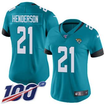 Women's Jaguars #21 C.J. Henderson Teal Green Alternate Stitched Football 100th Season Vapor Untouchable Limited Jersey